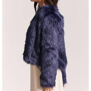 Forever 21 blue faux fur coat M